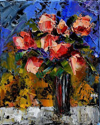 "Still Life Floral Painting,Palette Knife Oil Paintings ""Afternoon Roses"" by Texas Artist Debra Hurd"
