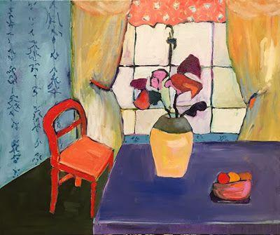 "Contemporary Expressionist Still Life, Interior View Fine Art Painting ""MORNING COFFEE SPOT"" by Oklahoma Artist Nancy Junkin"