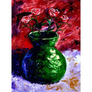 Mark Webster - Roses in Vase Still Life - Impressionist Acrylic Painting