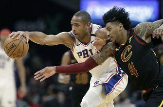 Joel Embiid sprains shoulder, Sixers lose to Cavs 108-94