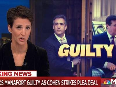 On Manafort-Cohen Day MSNBC Took Surprise Ratings Lead, Bumping Hannity to Number Three