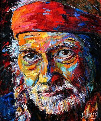 "Abstract Portrait Music Art Painting ""Willie Nelson"" by Texas Artist Debra Hurd"