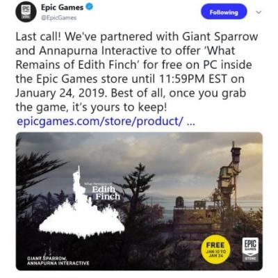 Last Day to grab free copy of What Remains of Edith Finch is tomorrow