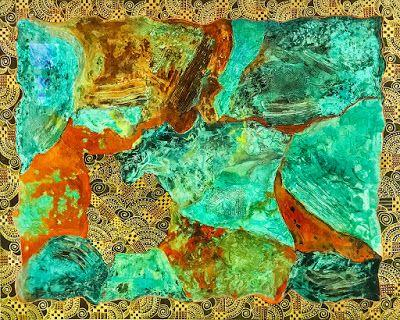 """Contemporary Abstract Acrylic Painting """"MAGNIFICENT METALS"""" by Arizona Artist Pat Stacy"""