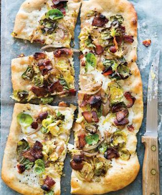 Brussels Sprouts and Bacon Pizza