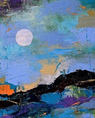 "Contemporary Abstract Painting ""Moon in My Space"" by Abstract Artist Nijole Rasmussen"