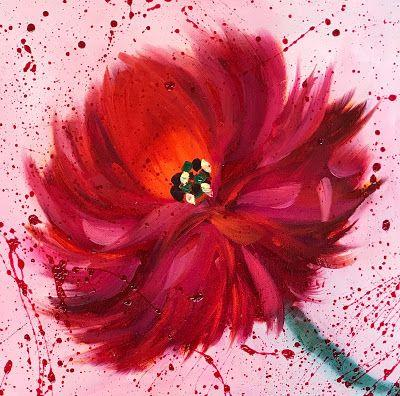 "Red Peony, Abstract Flower Painting, Splatter Painting, Fine Art Oil Painting, Vintage Floral ""Affair of the Heart"" by International Contemporary Artist Kimberly Conrad"