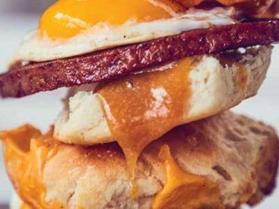 Seared Bologna, Egg, and Cheese Biscuit Sandwiches with Sweet Mustard