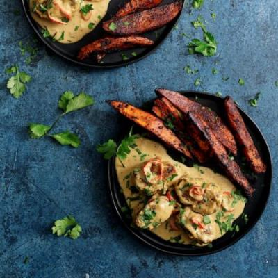 Spicy Tahini Pork w/ Sweet Potatoes