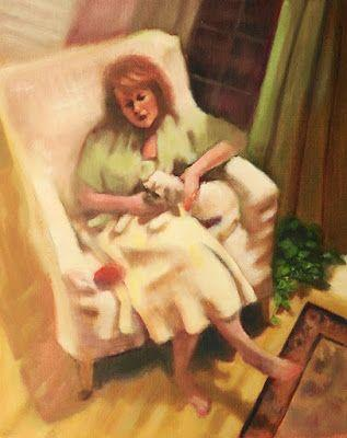 "Fine Art Oil Painting, Woman & Dog, Figurative, Interior View ""Me and My Dog"" by Illinois Artist Marilyn Weisberg"