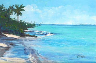 Beach Paradise, Oil Painting on Canvas Panel, 9x6 Seascape Daily Painting