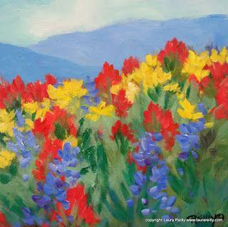 "New Contemporary Wildflowers Painting ""Wildflowers Vista"" by Contemporary Colorado Artist Laura Reilly"