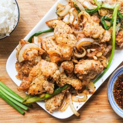 Spicy Salted Chicken with Scallions