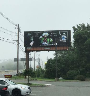 Eagles fan trolls Patriots with billboard near Gillette Stadium