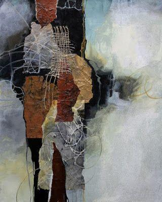 "Mixed media abstract collage, ""Cloud Kiss"" © Carol Nelson Fine Art"