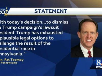 Sen. Toomey congratulates Biden following federal judge tossing out Trump's lawsuit on PA election result