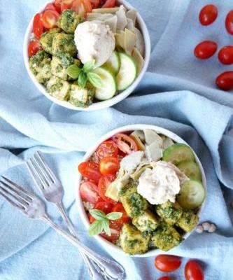 Hummus and Pesto Tofu Buddha Bowls