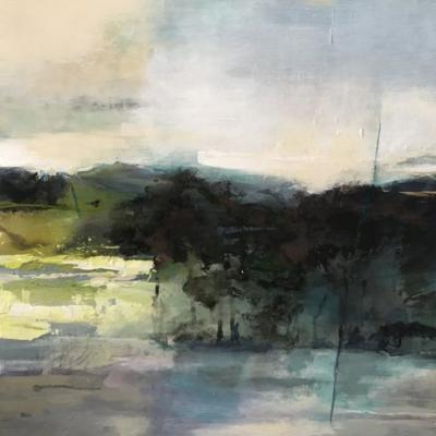 """Contemporary Abstract Landscape Art Painting,""""SPRING SOLACE"""" by Intuitive Artist Joan Fullerton"""