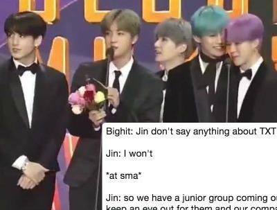This Video Of BTS' Jin Giving TXT A Shoutout At The SMAs Radiates Big Brother Energy