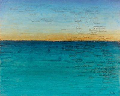 "Contemporary Map Art, Florida Map ""TWILIGHT ON TEAL WATERS"" by Contemporary Artist Brian Billow"