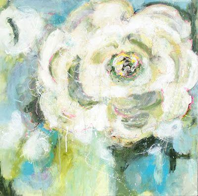 """Contemporary Abstract Expressionist Floral Painting """"RIFF"""" by Abstract Artist Pamela Fowler Lordi"""