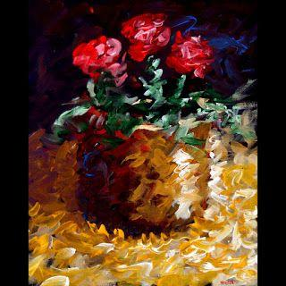 Mark Webster - Abstract Electric Roses Acrylic Still Life Painting