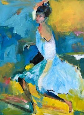 """Dancer, Abstract Figurative Painting,Fine Art Painting,Expressionist Portrait,Blue Dress """"Waiting Her Turn"""" by Oklahoma Artist Nancy Junkin"""
