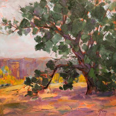 """Contemporary Impressionist Colorado Landscape Painting, Fine Art Oil Painting, Tree, """"Queen of the Plateau"""" by Colorado Contemporary Fine Artist Jody Ahrens"""