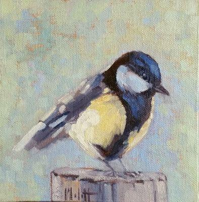 Chickadee Song Bird Oil painting Original Artwork Heidi Malott