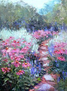Cone Flowers, Contemporary Landscape Painting by Sheri Jones