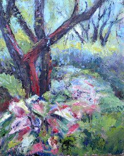 Chandor Garden Caladiums, New Contemporary Landscape Painting by Sheri Jones