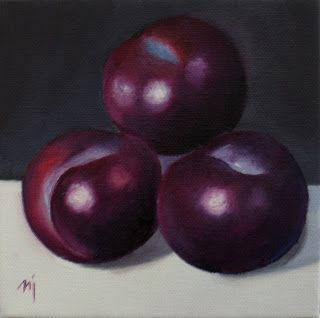 Plums on White - SOLD