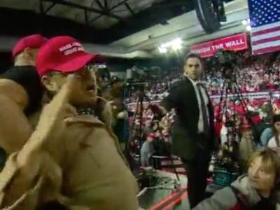 A BBC cameraman was attacked by a Trump supporter yelling 'f-k the media' at his border rally in Texas