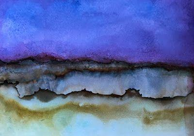 """Abstract Art, Contemporary Landscape, Alcohol Inks """"Desert Crater"""" by Florida Contemporary Artist Mary Ann Ziegler"""