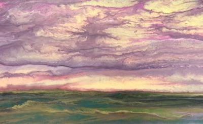 """Abstract Landscape Painting,Sunset ,Contemporary Landscape """"The Sun Rose Softly II"""" by Colorado Contemporary Artist Kimberly Conrad"""