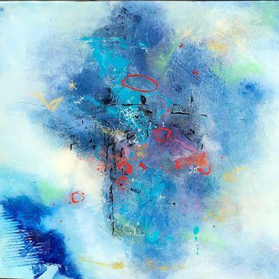 """Contemporary Abstract Expressionist Fine Art Painting, Blue Painting """"Finding Light"""" by Contemporary Expressionist Pamela Fowler Lordi"""