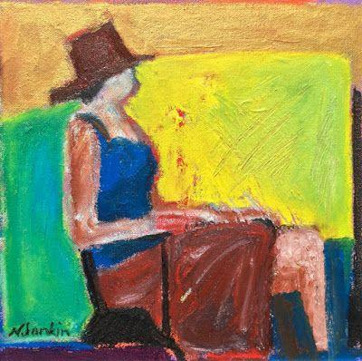 """Abstract Figurative Painting """"Lost in Thought"""" by Oklahoma Artist Nancy Junkin"""