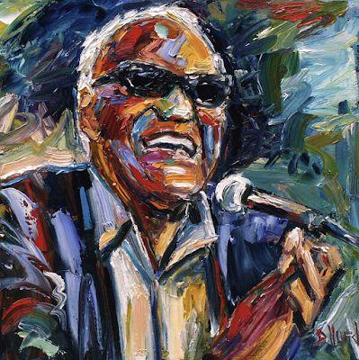 """Palette Knife Musician Art Portrait Oil Painting, Ray Charles """"Dear Brother Ray"""