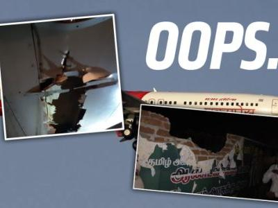 Boeing 737 Flies Through Brick Wall, Smashes Tower on Takeoff, Keeps On Flying