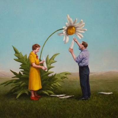 Subjects Undertake Futile Pursuits in Satirical Paintings by Artist Toni Hamel