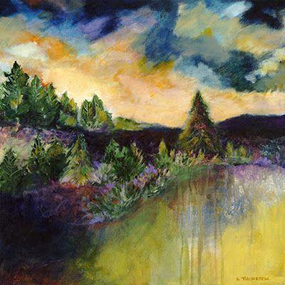 """Colorful Contemporary Landscape Art, Abstract Landscape Painting,Trees, """"ON THE EDGE"""" by Portland Contemporary Artist Liz Thoresen"""