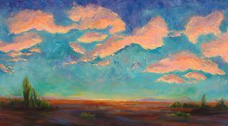 """End of the Evening"" Original Impressionist landscape sunset oil painting by Janice Trane Jones"
