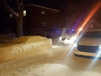Man pranks police with car made of snow