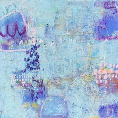 "Contemporary Abstract Expressionist Painting ""TELL ME MORE"" by Abstract Artist Pamela Fowler Lordi"