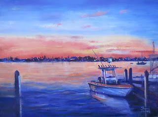 Fishing Boat, New Contemporary Landscape Painting by Sheri Jones