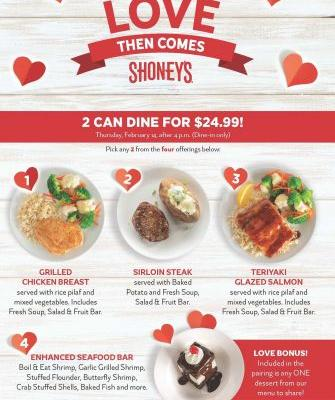 Shoney's To Treat Guests to a Sharable FREE Dessert, including its Signature Hot Fudge Cake, on Valentine's Day with Purchase of '2 Can Dine for $24.99'