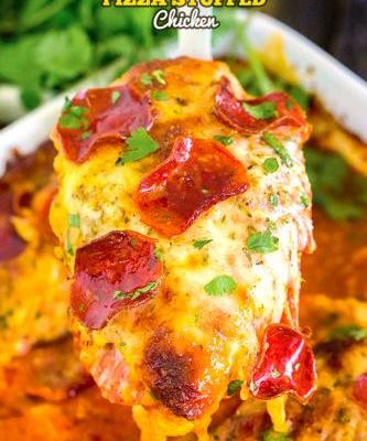 Cheesy Pizza-Stuffed Chicken