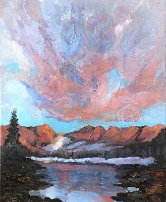 """Colorful Contemporary Painting, Abstract Sunset Art, River """"Just Another Sunset"""" by Colorado Artist Susan Fowler"""