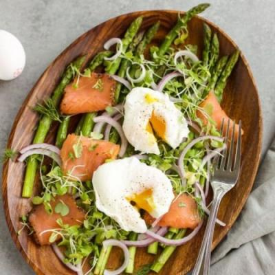 Roasted Asparagus with Poached Eggs