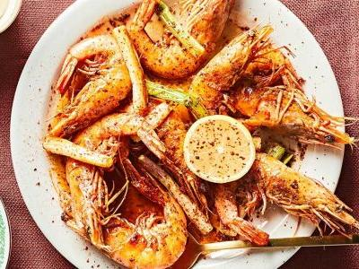 Head-On Shrimp with Chile Oil and Scallions